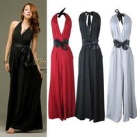2013 female spring sexy bandage deep V-neck belt one piece trousers halter-neck Fashion Loose Jumpsuit/ Casual Pants plus size