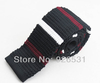 Knitting necktie/black/wine red and white horizontal stripes pattern design/new han edition men's fashion necktie, free shipping