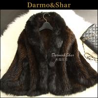 Mink knitted fur cape coat short design female 2013 fox fur mink hair knitted