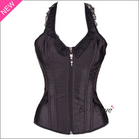 2014 new arrivals sexy halter women satin corset black corset bustier lace up zipper corselette S-XL