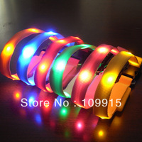 Free Dropshipping*Pets LED Light Flash Night Safety Nylon Collar Small Size Width 1.5cm WaterproofSL00459