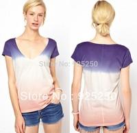 top for women summer autumn fashion 2014 cotton blue pink gradient color short sleeve V neck slim tshirt