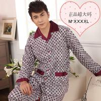 Pajama Male spring and autumn 100% cotton sleepwear plus size plus size plaid 100% cotton lounge set xxxxl