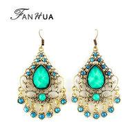 Green Imitation Gemstone Jewelry Ethnic Big Long Dangle Earrings Hollow Out New 2014 Joyas for Women