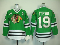 Blackhawks Jersey #19 Toews Green Colo Size 48-56 Stitched free shipping mix order