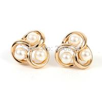 Fashion 18K Gold Full Pearl Earrings Bowknot Earring