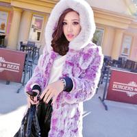 Rabbit fur coat medium-long fox fur hooded slim female 2013 fur coat