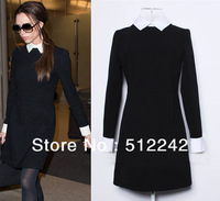 2013 spring autumn new women's high quality brief white color long sleeve black pink Victoria Beckham dresses free shipping fxh