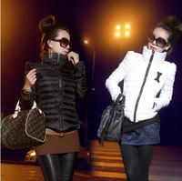 2013 winter Women's plus size turtleneck short design down slim wadded jacket cotton-padded thin short jacket C0292