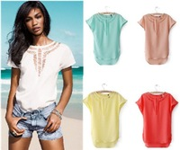 [S-1201] new Promotions!hot summer Fashion trendy women clothes Tops Tees T shirt Lace hollow bat sleeve T-shirt