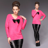 2013 beautiful pink bow plus size loose long-sleeve basic shirt t-shirt
