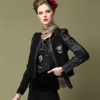 2013 autumn and winter punk motorcycle tiger PU female jacket outerwear short design lace blazer