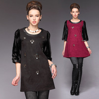 2013 autumn and winter fashion plus size three quarter sleeve medium-long thickening fur patchwork one-piece dress