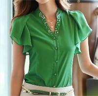 New 2014 Free shipping summer causal women chiffon blouse base lady sleeve v-neck lotus leaf shirt Nail bead OL 3 color S~2XL