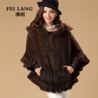 2013 mink hair women's medium-long pahone outerwear hooded mink knitted fur