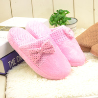 free   shipping Winter indoor soft outsole cotton-padded slippers at home thermal lovers cartoon bow platform home slippers