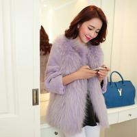 Full leather rex rabbit hair fur coat raccoon fur rex rabbit goatswool women's overcoat short design