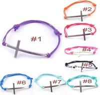 Hot Fashion Wholesale 50 pcs/Lot Cuff Cotton Hemp Adjustable Handmade Braided Bracelet Retro Silver Cross Gift Free Shipping
