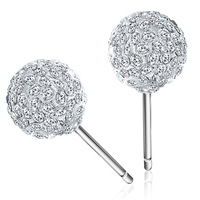 YUM brands fashion jewelry earring round crystal ball, 925 sterling silver plated platinum earrings and 3 layers