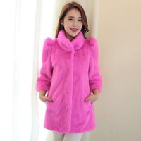 Medium-long marten overcoat Women fur outerwear 2013 mink fur white