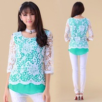 W67 Two Piece Embroidery Lace Crochet Ladies T-shirts For women 2013 Blusas De Seda Feminina Chiffon Renda Blouses Tops Tee