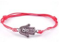 Hot Free Shipping Fashion Wholesale 50 pcs/Lot Cuff Cotton Hemp Adjustable Handmade Braided Bracelet Retro Silver Palm Hand