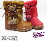 2013 autumn and winter girl baby boots cotton-padded  snow boots plus velvet thickening thermal roper boots
