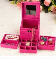 Princess fashion jewelry box large capacity ring stud earring storage box jewelry box makeup mirror jewelry box