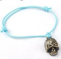 Fashion Wholesale 50 pcs/Lot Cuff Cotton Hemp Adjustable Handmade Braided Bracelet Retro Copper Cool Skull Free Shipping