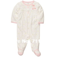 wholesale  New Arrival carter's baby girl snap-up rompers, footie, 100%cotton, carter's baby clothing, 5pcs/lot