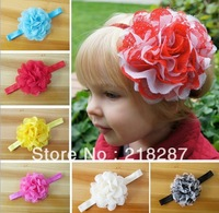 Free Shipping 2013 New 30pcs/lot 2013 Kids Flower headbands baby headbands for girl stretch hair bands For Christmas Gift