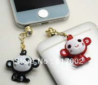 6pcs/lot  Universal 3.5mm cartoon monkey crystal  dustproof Earphone Jack Plug for iPhone/cellphone #1