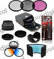 uv filter cpl 52mm FLD  Set   + lenspen  + Flower Petal 3-Stage Rubber Lens Hood + graduated color filter kit  for canon eos