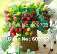 New Year Christmas Wedding Decorative 10set x9 stem Artificial Strawberries Fruit Red Apple Green FL073-2