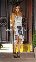 2014 Sexy Celebrity Chic Cozy Newspaper Printed Knit Jersey Backless Dress Size US4- US12 111205