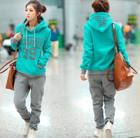2013 fall and winter clothes new Korean version of the sports and leisure 39 thick fleece hooded sweater pants leisure suit