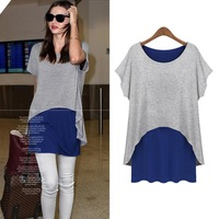[s-1259]Autumn new European and American wind easing off two loose stitching render modal fashion long-sleeved dress T-shirt