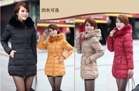 Hot sale! for coming winter women's slim medium-long down coat with soft rabbit fur collar, Free shipping!