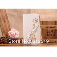 Handmade bling Rhinestone White Flower Golden Tower Shining flip leather cover for Samsung Galaxy S4 SIV I9500