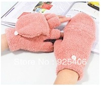 Women's Winter Wool Thermal Fingerless Gloves Short Yarn Knit Mittens Luvas For Women For Christmas