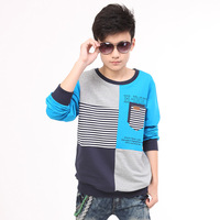 2013 autumn male big boy t-shirt long-sleeve men's child clothing autumn teenage boys clothing clothes 100% cotton
