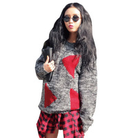 Free Shipping 2014 New Korea Sty Triangle Pattern Loose Knitted Sweater Geometric Full Pullovers RG1311709