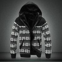 Winter snowflake jacquard thickening models warm sweater hooded zipper sweater jacket coat big yards Men Business Men