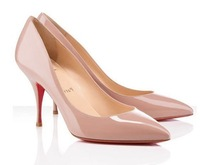 Hot Selling Women Red Bottom Elegant Office Lady 85mm Stiletto Patent Leather/Suede Pointed Toe Pumps Black Nude/Pink/Leopard