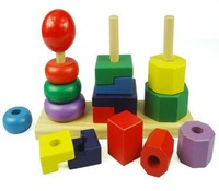 Wooden Child  Column Geometry Blocks, Childrens Toys and Gifts,Set for Children's Creativity