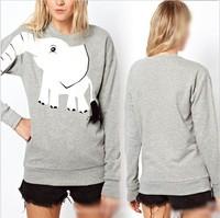 2013  New Women Girl Loose Elephant Printed Pullover Jumper Sweatshirt Outwear Shirt Tops WC14