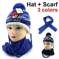 Knitting Wool Bomber Hats girl's and boys Hats and scarves Cute little Children ear protection cap( hat + scarf) Free shipping