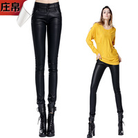 Fashion autumn and winter PU pants female trousers tight pants pencil pants skinny pants plus size