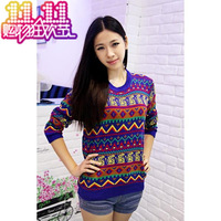 Vintage color block multicolour geometric patterns graphic color block decoration national trend pullover sweater female