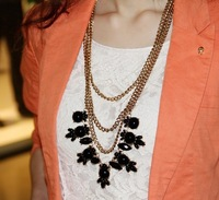 cute fashion women's accessories big stone multilayer pendant necklace necklaces sweater necklace BH1103